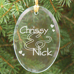 Couples Personalized Oval Glass Ornament