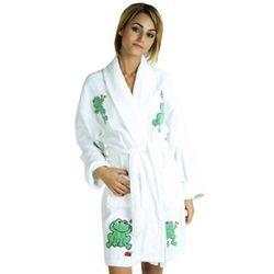 Women's Frog Appliqued Cotton Terry Short Bathrobe
