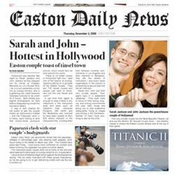 Hollywood's Hottest Couple Fake Newspaper Page