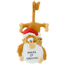 Personalized Baby's 1st Christmas Monkey Ornament