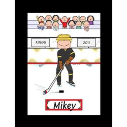 Personalized Male Hockey Player Cartoon
