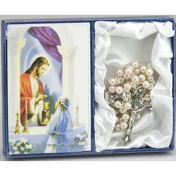 Girl's First Communion Rosary and Prayer Card