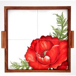 Poppy Wood and Ceramic Tile Tray