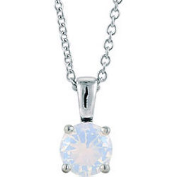 Sterling Silver Opal Cubic Zirconia Solitaire Pendant Necklace