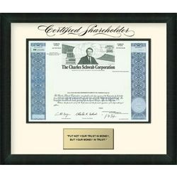 Charles Schwab Framed Share of Stock