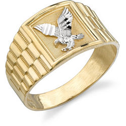 14K Two-Tone Gold Men's Eagle Ring