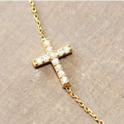 Sterling Silver Gold Sideways Cross Necklace