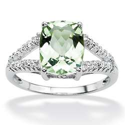 Cushion-Cut Green Amethyst and Diamond Accent Ring