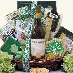 Irish Blessings White: St. Patrick's Gourmet Wine Gift Basket