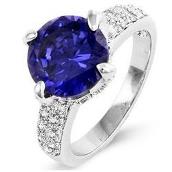 Sterling Silver Claw Set Tanzanite Cubic Zirconia Ring