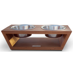 Angled Bamboo Diner with Pet Bowls