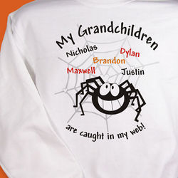 Caught in My Web Personalized Halloween Sweatshirt