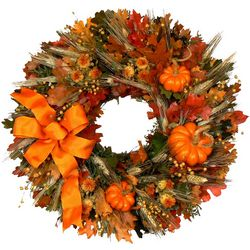 "Fall Pumpkin 18"" Wreath"