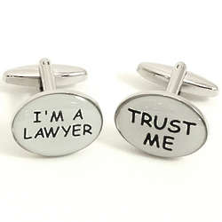 Rhodium Plated Trust Me I'm a Lawyer Cuff Links