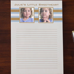 Classy Stripes Personalized Two Photo Notepad