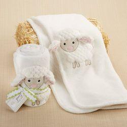 Love Ewe Lamb Plush Baby Blanket