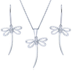 Sterling Silver CZ Dragonfly Fashion Necklace and Earrings