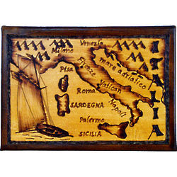 Italy Map Leather Photo Album in Natural
