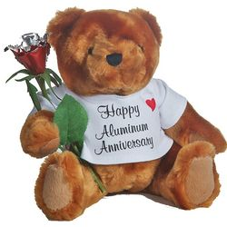 10th Anniversary Teddy Bear with Aluminum Rose
