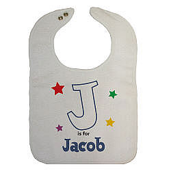 A is For Stars Personalized Baby Bib