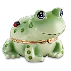 Hoppy Frog Porcelain Animoges Music Box