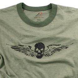 Vintage Olive Drab Skull and Wings T-Shirt