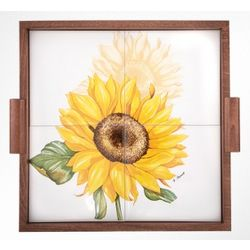 Sunflower Wood and Ceramic Tile Tray