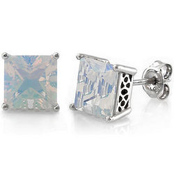 Sterling Silver Princess Opal Cubic Zirconia Solitaire Earrings