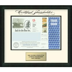 Jack in the Box Framed Share of Stock