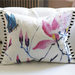 Madame Butterfly Peony Decorative Pillow