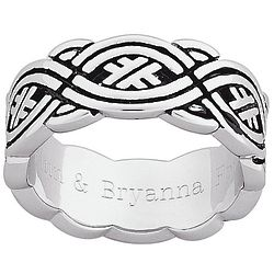 Personalized Men's Antiqued Celtic Weave Engraved Band