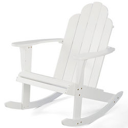 White Weather-Resistant Adirondack Rocker Chair
