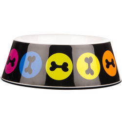 Melamine Rainbow Dog Bone Bowl