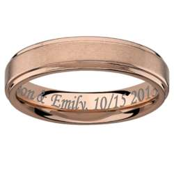 Men's Rose Gold Stainless Steel Satin Engraved Band