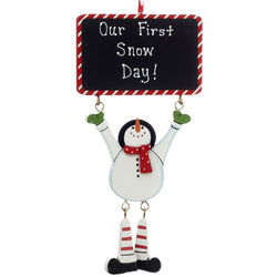 Personalized Chalkboard Snowman Christmas Ornament
