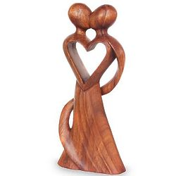 My Heart and Yours Wood Statuette