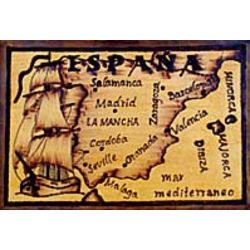 Spain Map Leather Photo Album in Natural