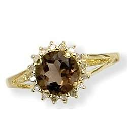 14k Gold Smokey Quartz Ring with Diamonds