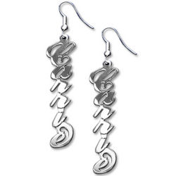Sterling Silver Carrie Style Name Earrings