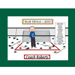 Personalized Hockey Coach Cartoon