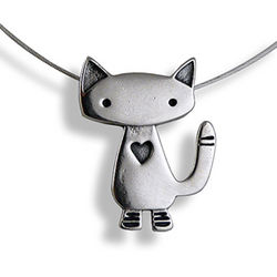 Alley Cat Sterling Silver Charm Necklace