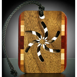 Solid Wood Bag Tag with Lanyard