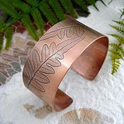 Natural Leaf Impression Copper Cuff