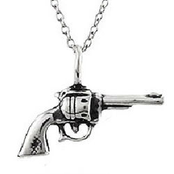 Sterling Silver Six Shooter Revolver Pendant