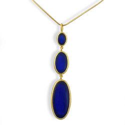 Cobalt Blue Artisan Glass Triple Drop Necklace