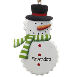 Personalized Tin Bottle Cap Snowman with Green Scarf Ornament