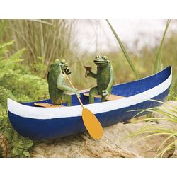 Paddling Frog Couple in Canoe Sculpture