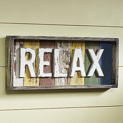 Relax Wooden Box Sign