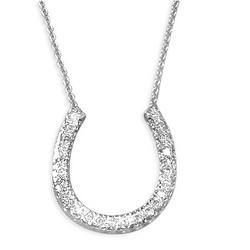 14k White Gold Diamond Horseshoe Pendant and Necklace