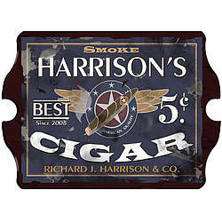 Personalized Vintage Pub Sign - Partriot Cigar Label